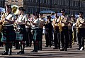 Musicians with the Royal Regiment of Scotland and U.S. Sailors with the U.S. Naval Forces Europe Band rehearse a song for the massed military band portion of the Royal Edinburgh Military Tattoo in Edinburgh 120731-N-VT117-949.jpg