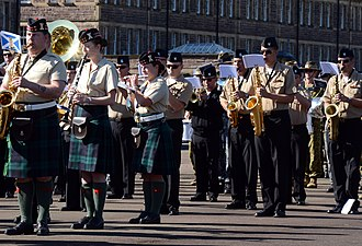 Band of the Royal Regiment of Scotland - Image: Musicians with the Royal Regiment of Scotland and U.S. Sailors with the U.S. Naval Forces Europe Band rehearse a song for the massed military band portion of the Royal Edinburgh Military Tattoo in Edinburgh 120731 N VT117 949