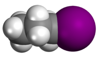 Spacefill model of n-propyl iodide
