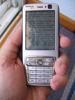 Nokia N73 smartphone displaying part of the e-...