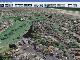NASA WorldWind - USGS Urban Ortho-Imagery of Huntington Beach, California in older version of WorldWind (1.2)