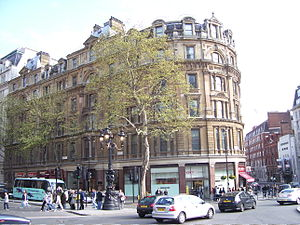 National Liberal Club - This Trafalgar Square building temporarily housed the NLC twice; once in 1882–87, whilst the club's own premises were being built; and again 1916–19 when the club building was requisitioned for war work.