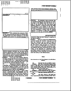 An image of a scanned document that has several paragraphs covered over with white boxes.