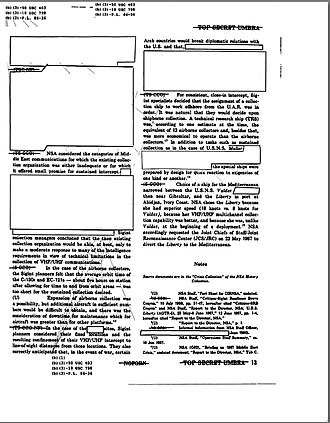 "Classified information - A typical classified document. Page 13 of a U.S. National Security Agency report on the USS Liberty incident, partially declassified and released to the public in July 2004. The original overall classification of the page, ""top secret"", and the Special Intelligence code word ""umbra"", are shown at top and bottom. The classification of individual paragraphs and reference titles is shown in parentheses—there are six different levels on this page alone. Notations with leader lines at top and bottom cite statutory authority for not declassifying certain sections."