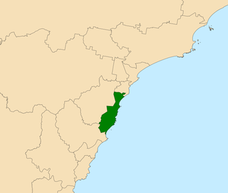 Electoral district of Swansea - Location in the Central Coast region