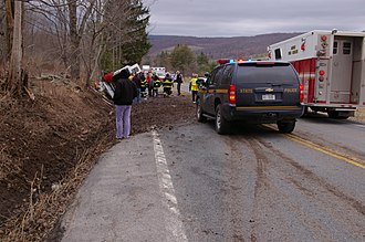 New York State Police - NY State Police unit at the scene of an MVA, Delaware County, New York