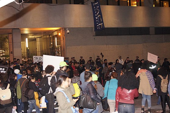 New Yorkers demonstrating against police brutality at Pace University in November 2014 NYC Mike Brown-Ferguson protest Pace University.JPG