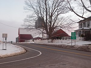 New York State Route 89 southbound entering Tyre.
