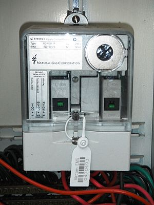 Load management - A ripple control receiver fitted to a New Zealand house. The left circuit breaker controls the water storage heater supply (currently on), while the right one controls the nightstore heater supply (currently off).
