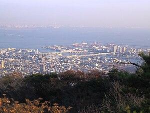 Higashinada-ku, Kobe - Rokkō Island Line and Rokkō Island from Mount Nagamine of Rokko Mountains