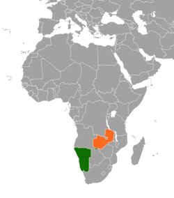 Map indicating locations of Namibia and  Zambia