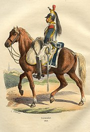Color print of a cavalryman wearing a helmet with a black horsehair crest, a steel cuirass over a blue coat, and white breeches. He is riding a brown horse.