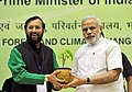 Narendra Modi at the Conference of State Environment & Forest Ministers, in New Delhi. The Minister of State for Environment, Forest and Climate Change (Independent Charge), Shri Prakash Javadekar is also seen.jpg