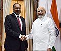Narendra Modi meeting the Prime Minister of the Republic of Vanuatu, Mr. Charlot Salwai for the bilateral talks, on the sidelines of the International Solar Alliance (ISA) Summit, at Hyderabad House, in New Delhi.jpg
