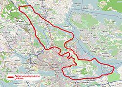 Karta Stockholms Universitet.Kungliga Nationalstadsparken Wikipedia