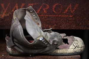 A neglected old boot, demonstrating extensive ...