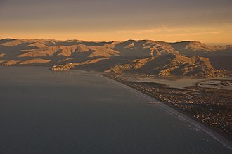 New Brighton, New Zealand - Aerial view of New Brighton beach and the Port Hills