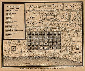 History of New Orleans - Plan de la Nouvelle Orleans Capitale de la Louisiana, 1728.