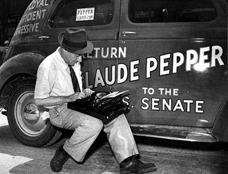 Claude Pepper - Newsman covering U.S. Senator Claude Pepper's campaign in 1938.