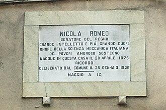 Nicola Romeo - Nicola Romeo Script's Honourable Plate in his birth city, Sant'Antimo (Naples), Italy.