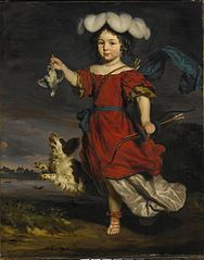 A Portrait of a Child dressed as a Hunter with a Dead Bird and a Dog