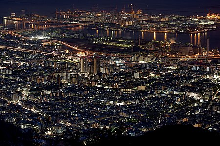 Night view of artificial Rokkō Island and Higashinada-ku in Kobe, Japan
