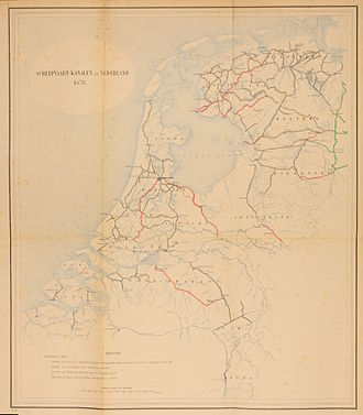 Beurtvaart - Waterways in the Netherlands, 1878. In red, canals proposed in parliament, which rejected the proposal. Amsterdam's connection to the Rhine was improved much later and Rotterdam went on to dominate the trade on the German hinterland
