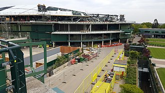 No. 1 Court (Wimbledon) - No. 1 Court seen under renovation works in April 2017.