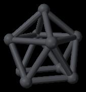 Neun dunkelgraue Kugeln, die durch gleichfarbige Zylinder verbunden sind und eine konvexe Form bilden