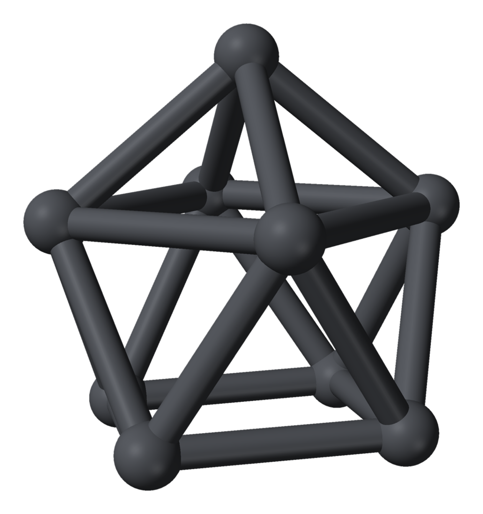 Nine dark gray spheres connected by cylinders of the same color forming a convex shape