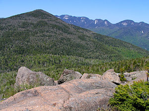 Noonmark Mountain - Noonmark from Round Mountain, showing the Great Range from Gothics to Lower Wolfjaw Mountain