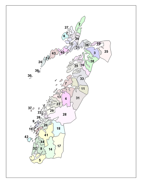 Location of Nordland Municipalities.