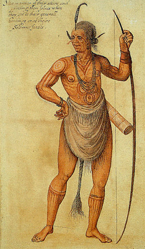Secotan - Watercolor painting by Governor John White c.1585 of an Algonkin Indian Chief in what is today North Carolina. (Manteo)