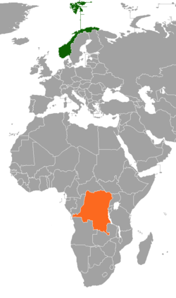 Map indicating locations of Norway and Democratic Republic of the Congo