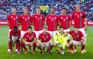 Brede Hangeland - Hangeland (back, furthest right) lining up as captain of Norway in 2012