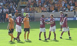 Luis Antonio Jiménez - Jiménez (1st West Ham player on right) at the end of his debut game against Wolverhampton Wanderers. Other West Ham players are Frank Nouble, Junior Stanislas, Mark Noble and Jonathan Spector