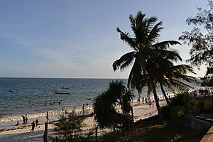 Nyali Beach towards the south from the Reef Hotel during high tide in Mombasa, Kenya 6.jpg
