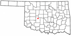 Location of Binger, Oklahoma