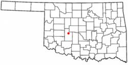 Location of Binger, Oklahoma