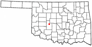 Binger, Oklahoma - Image: OK Map doton Binger