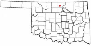 Tonkawa, Oklahoma - Image: OK Map doton Tonkawa