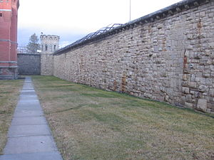 Montana State Prison - Convict-constructed sandstone wall