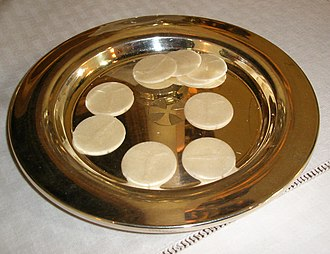 Sacramental bread - Unleavened hosts on a paten
