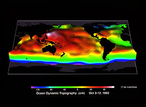 Ocean surface topography -  TOPEX/Poseidon was the first space mission that allowed scientists to map ocean topography with sufficient accuracy to study the large-scale current systems of the world's ocean. Although this image was constructed from only 10 days of TOPEX/Poseidon data (October 3 to October 12, 1992), it reveals most of the current systems that have been identified by shipboard observations collected over the last 100 years.