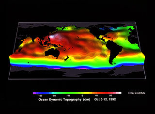 Ocean surface topography The shape of the ocean surface relative to the geoid