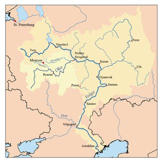 The Oka in the river system of the Volga
