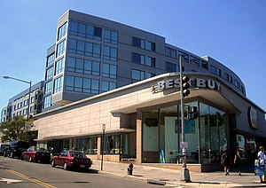 Tenleytown - The Cityline Building, home to a Best Buy, Container Store, Condominiums, and the west entrance of the Tenleytown-AU Station