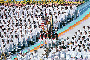 English: A color guard wearing Revolutionary W...