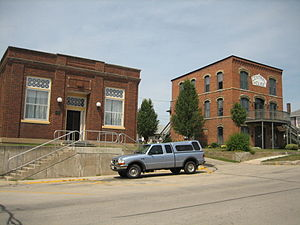 Orangeville, Illinois - The Central House hotel and  the People's State Bank were the first and last commercial buildings built in downtown Orangeville.