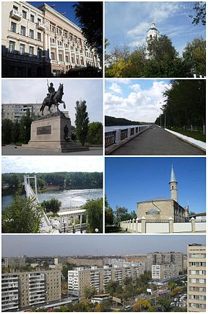 Orenburg - Clockwise from top: City Hall, Nikolsky Orthodox cathedral, Ural River Embankment, Ramazan Mosque, City skyline from Tchkalova street, Pedestrian bridge over Ural River, Monument to Orenburg cossacks